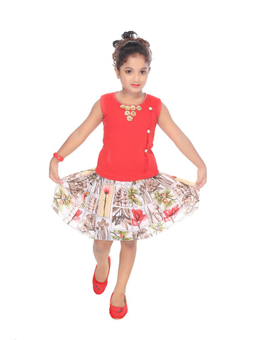 Girl's Printed Cotton Blend Top and Skirt