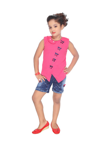 Girl's Solid Cotton Blend Top and Denim Shorts