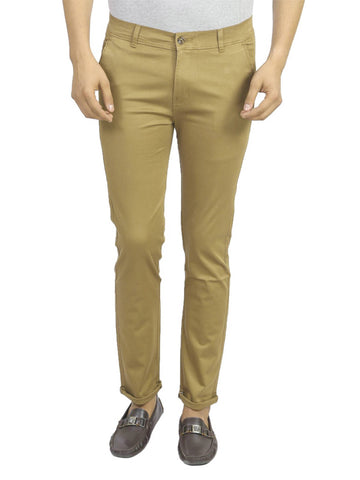 Men's Beige Cotton Blend Slim Fit Mid-Rise Jeans