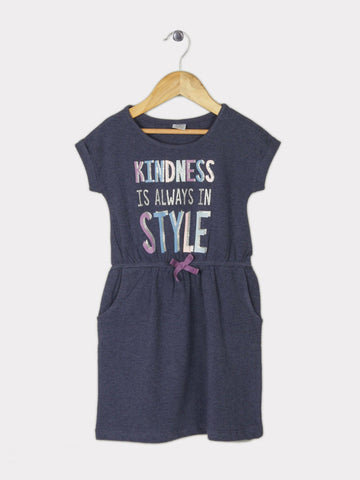 Girl's Solid Cotton A-Line Dress