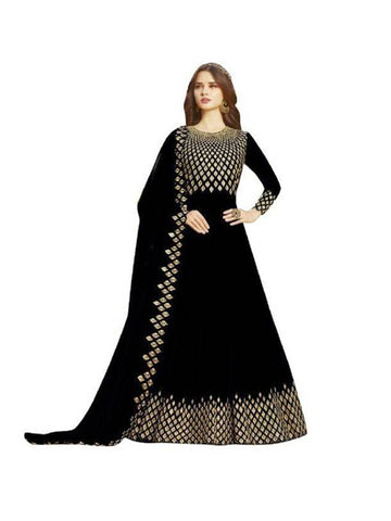 Designer Georgette Black Anarkali Semi-Stitched Gown