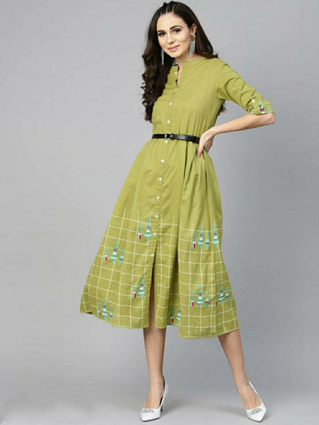 Stylish Cotton Printed Green Shirt Dress