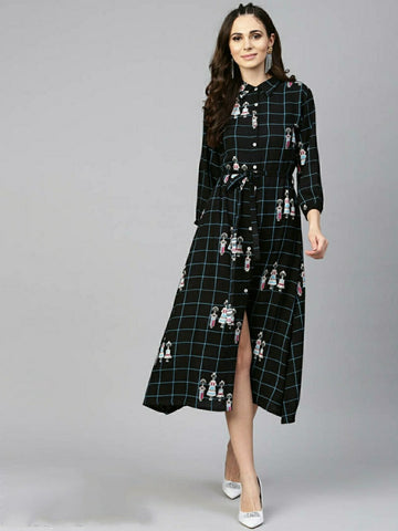 Stylish Cotton Printed Black Shirt Dress
