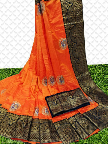 Sana Silk Saree Orange