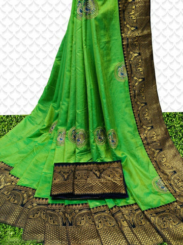 Sana Silk Saree Parrot Green