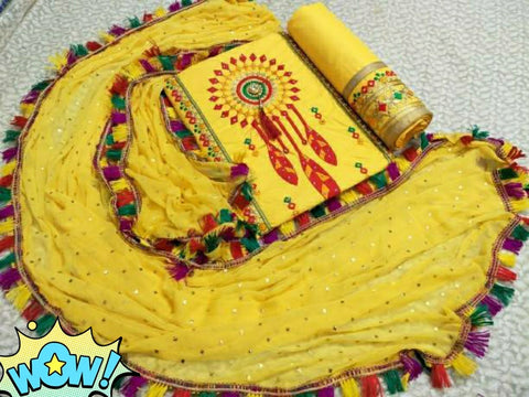 Cotton Embroidery Dress Material Set Yellow