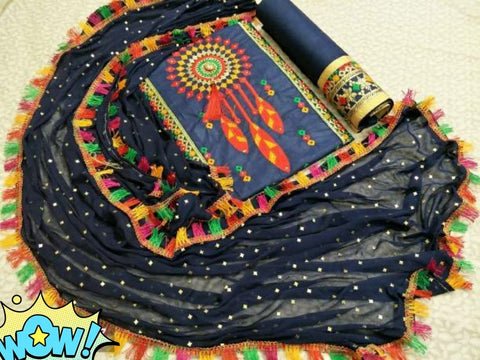 Cotton Embroidery Dress Material Set Navy Blue