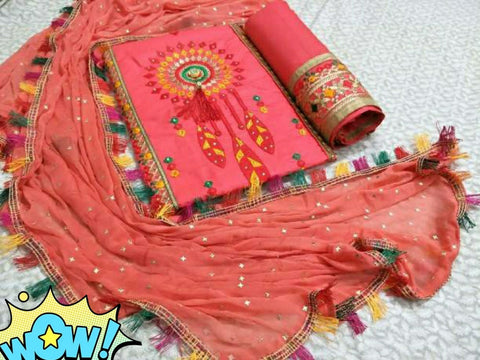 Cotton Embroidery Dress Material Set Peach