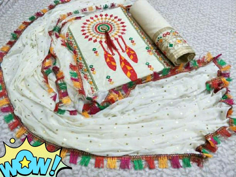Cotton Embroidery Dress Material Set White