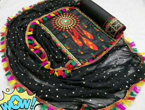Cotton Embroidery Dress Material Set Black