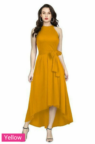 Designer High Low Western Gown Dress Yellow