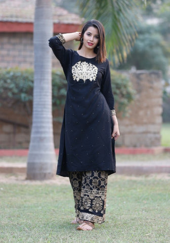 Rayon Kurta With Full Embroidery With Gold Printed Palazzo Set