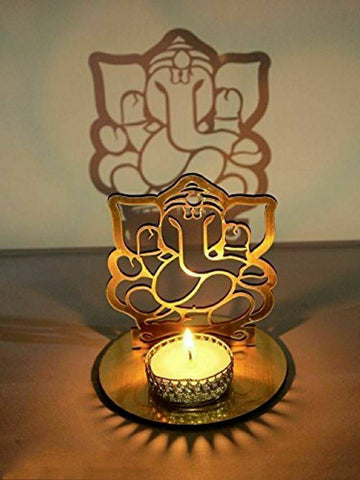 Classy Golden MDF Shadow GaneshJi Tealight Candle Holder