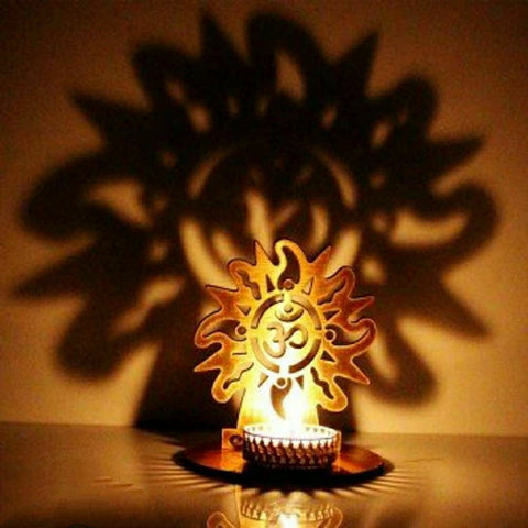 Classy Golden MDF Shadow OM Tealight Candle Holder
