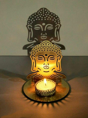 Classy Golden MDF Shadow Buddha Tealight Candle Holder