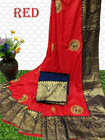 Sana Silk Saree Red
