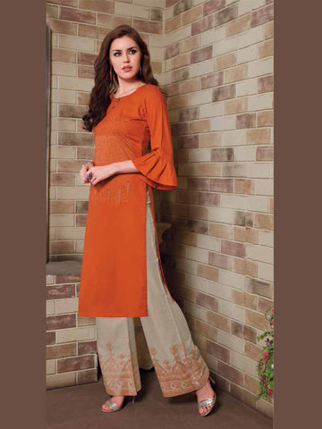 Mandarian Orange And Sand Color Palazzo Set