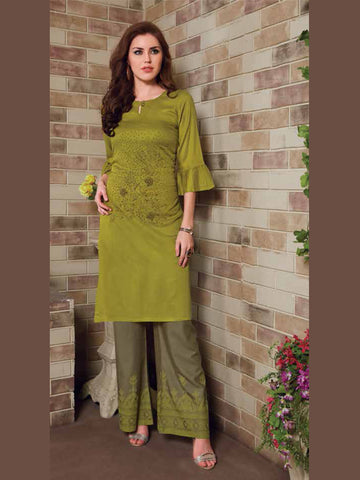 Olive And Sage Color Palazzo Set