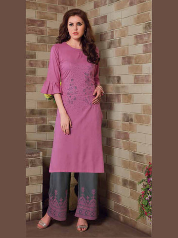 Pink And Dark Gray Color Palazzo Set