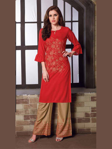 Red And Brown  Color Palazzo Set