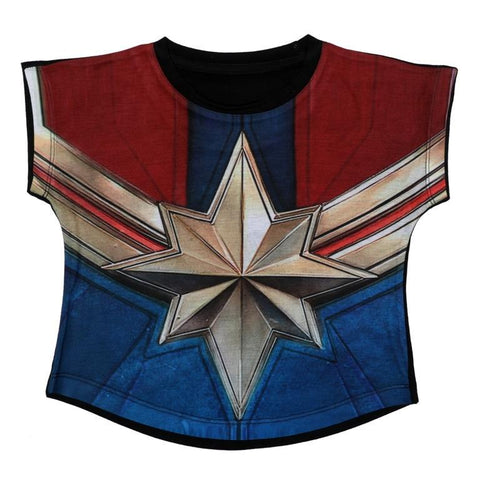 Captain Marvel Graphic Print Top Girls