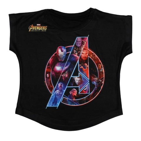 Marvel Avengers Multicolored Logo Print Top Girls