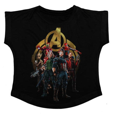 Marvel Avengers with the Golden Logo Print Top Girls