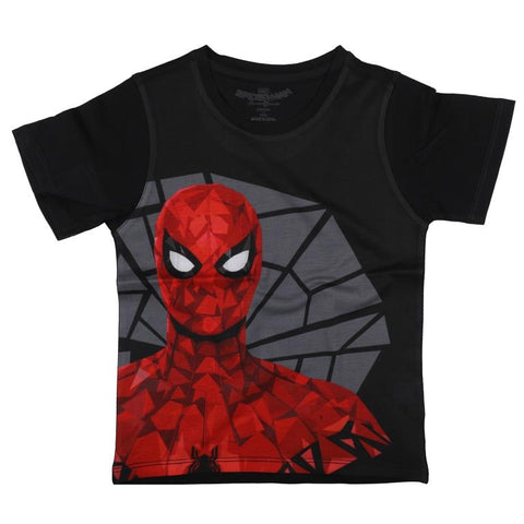 Marvel Spiderman & The Web Print T-shirt - Black Boys