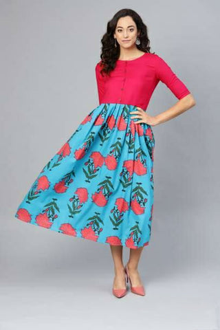 Trendy Cotton Printed Dress Cyan Antique Pink