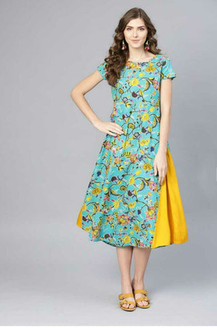 Trendy Cotton Printed Dress Light Green & Yellow