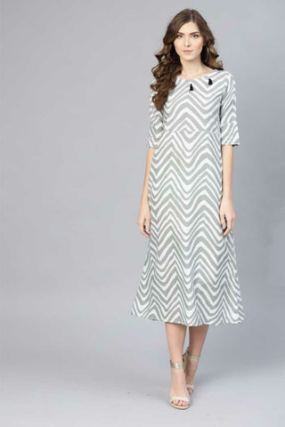 Trendy Cotton Printed Dress Light Grey