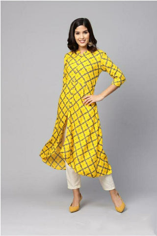 Trendy Cotton Printed Dress Yellow