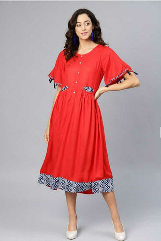 Trendy Cotton Printed Dress Red