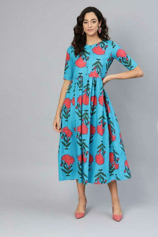 Trendy Cotton Printed Dress Cyan