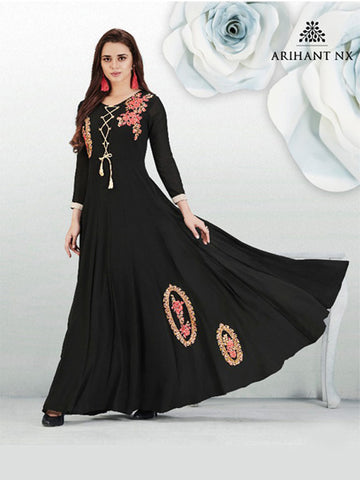 Anarkali Gorgette Gown Black