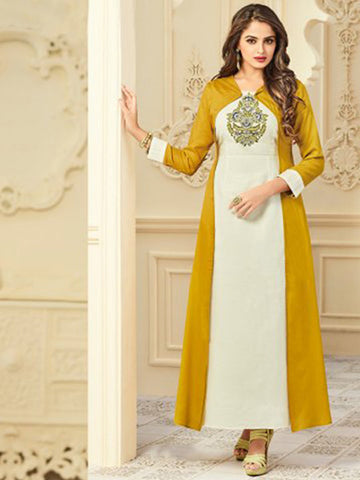 Arihant Shrug set Heavy Rayon Mustered Yellow & white