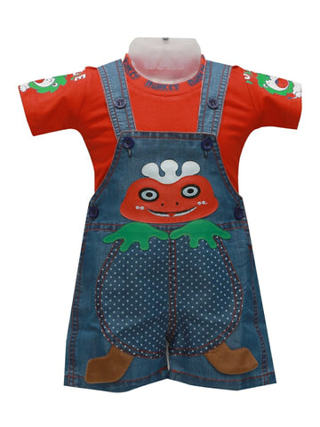 Kid's Cotton Solid Dungarees Red Blue