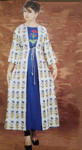 Attach Shrug Cotton Floral Print Kurta