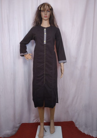 Solid Black Cotton Kurta Ashmi