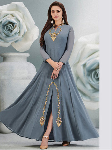 Anarkali with Pleats Gorgette Gown Grey
