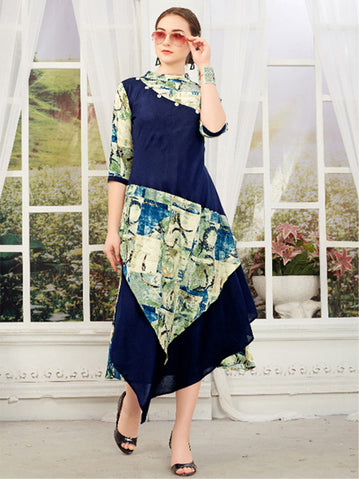 Asymmetric Slub Rayon Gown Navy Blue