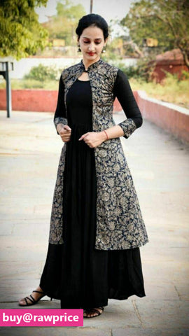 Elite Black Solid Rayon Women Kurta with Shrug