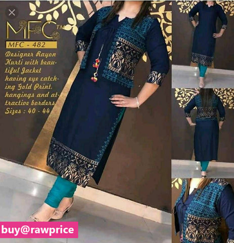 Reliable Navy Blue Rayon Gold Printed Women Kurti With Jacket
