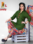 Apple Cut Kurti Dhoti & Dupatta Set Army Green