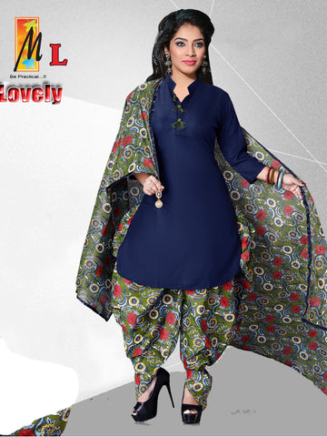 Apple Cut Kurti Dhoti & Dupatta Set Dark Blue