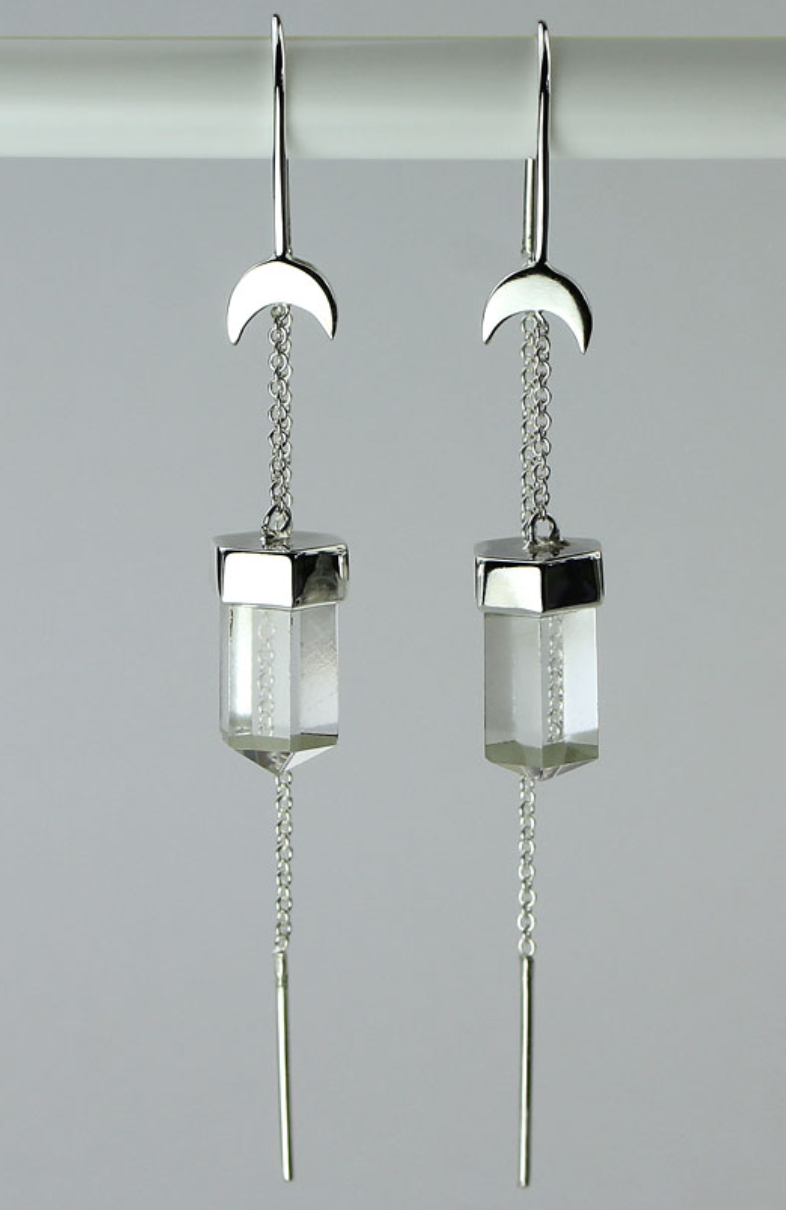 Crystal Quartz Threader Moon Earrings