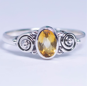 Citrine Sparkly Swirly Ring