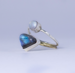 Labradorite Moonstone Silver Brass Ring