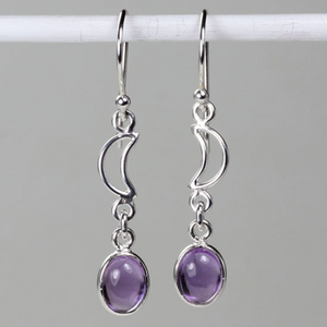 Amethyst Crescent Moon Earrings