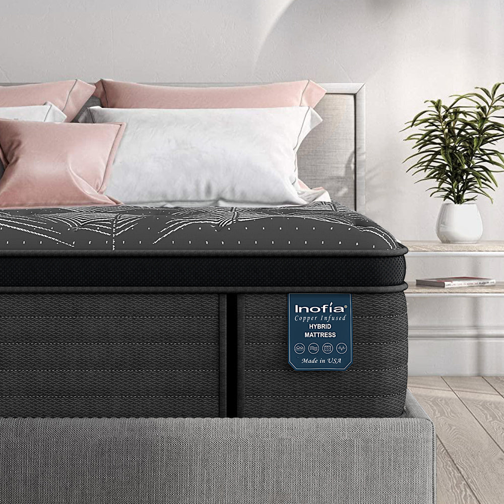 "Inofia Proudly US made  14"" Cooper-infused Hybrid Pocket Spring Mattress"